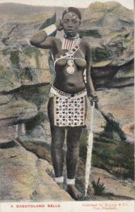Basutoland Belle South African Woman Of Beauty Tribe Warrior Antique Postcard