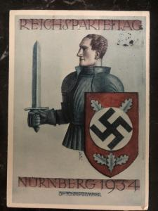 1934 Germany picture Postcard cover Nuremberg Rally NSDAP to Weimar