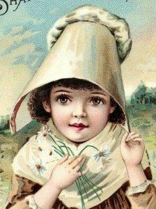 1891 Shaker Family Pills A.J. White Quack Medicine Adorable Child Bonnet P206