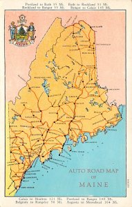 Maps Auto Road Map Maine, USA 1930