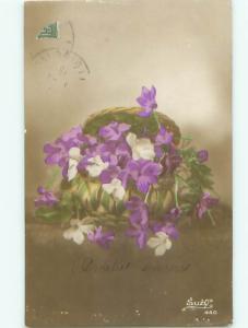 Old rppc FLOWERS SCENE Pretty Postcard AB2319