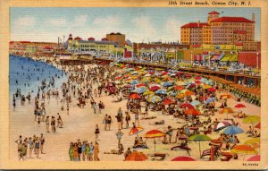 New Jersey Ocean City View Along 10th Street Beach 1945 Curteich