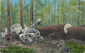 Modern Logging Tractor at Work Linen