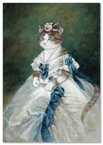 Victorian CAT LADY noblewoman White Dress by Susan Herbert NEW Modern Postcard
