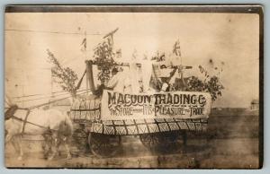 Real Photo Postcard~MaCoon Trading Co Store Parade Wagon~British Flags~c1908