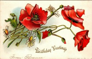 BIRTHDAY GREETINGS - ROSES WHITE RED FLOWERS - VINTAGE - PC POSTCARD