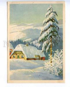 221275 GERMANY winter view with applique old postcard