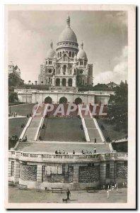 Old Postcard Paris Sacre Coeur Basilica and the monumental staircase