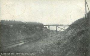 Elma Iowa~Railroad Crossing Under Wooden Bridge in Rural Howard County~c1910 B&W