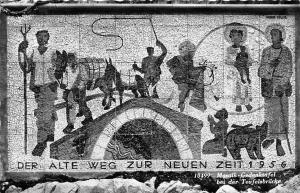 Mosaik Gedenktafel bei der Teufelsbruecke Der Alte Weg Zur Neuen Zeit 1956