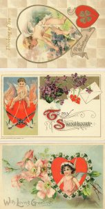 To My Sweetheart Cupids Bow Love Heart 3x Postcard s