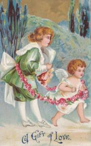 Valentine's Day Victorian Boy and Cupid 1909
