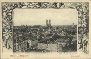 Gruss Aus Munchen Germany c1900 Floral Border Postcard TOTALANSICHT