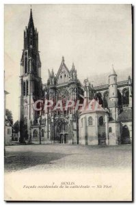 Old Postcard Senlis West Facade of the Cathedral