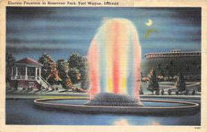 Fort Wayne Indiana 1940s Postcard Electric Fountain in Reservoir Park