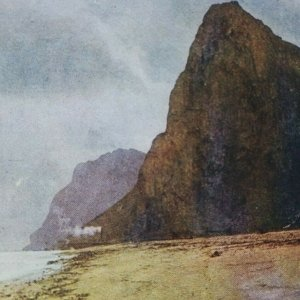 Oriental Cara Roca De Gibraltar Por Luna Británico Territory Playa Estereoscopia