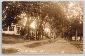 China Maine~Main Street Homes~Kids on Lawn Under Tree~Dirt Road~c1920s RPPC