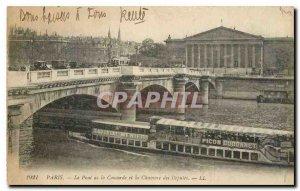 Old Postcard Paris Le Pont de la Concorde and the Chamber of Deputies boat Pe...