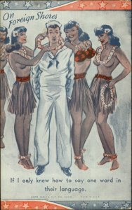 Sexy Topless Hula Girls Grass Skirts WWI Navy Sailor Leis Exhibit Postcard