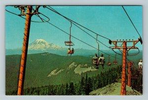 White Pass WA- Washington, Chair Lift, Mount Ranier, Chrome Postcard