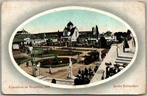 1910 EXPOSITION DE BRUXELLES Postcard Brussels Belgium Expo Jardin Hollandais