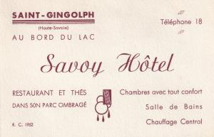 Savoy Hotel Saint Gingolph French 1940s Business Advertising Card
