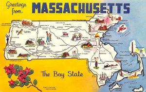 Greetings from Massachusetts, USA  Postcard Unused
