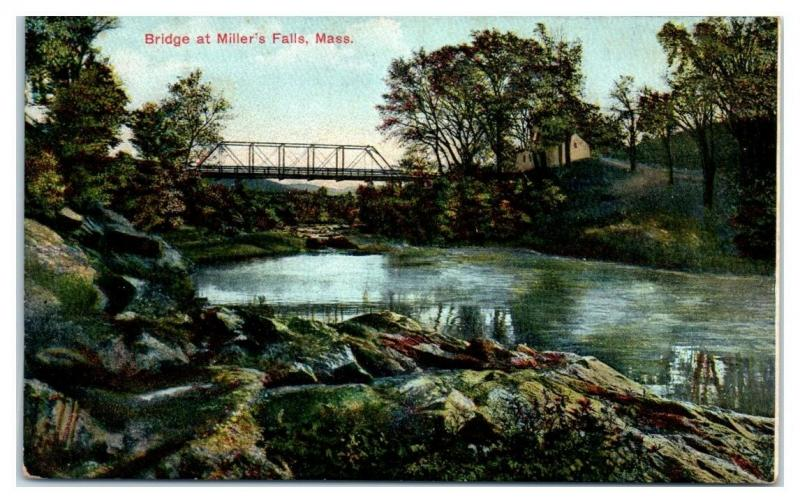 Early 1900s Bridge at Miller's Falls, MA Postcard