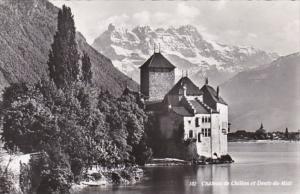 Switzerland Chateau de Chillon et Dents du Midi 1954 Photo