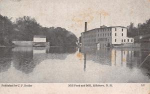 Hillsboro New Hampshire~Mill Pond & Mill~Saw Woolen Grist?~1912 B&W Postcard