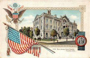 LPS16 New Jersey State Capitol Patriotic Flag Postcard Langsdorf