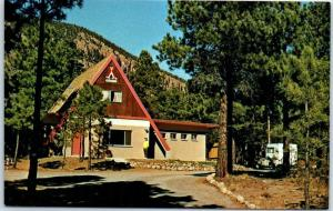 Flagstaff Arizona Postcard FLAGSTAFF KOA Campground Camping A-Frame Bldg c1970s