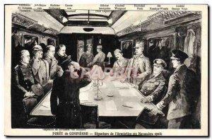 Old Postcard Foret De Compiegne Interior Wagon L & # 39Armistice Army