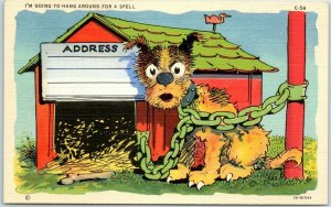 c1940s RAY WALTERS Comic Postcard Dog Chained to Post Curteich Linen 5A-H1544