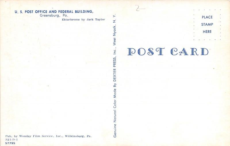 Greensburg PA~US Post Office & Federal Bldg~Sidewalk Sign~Westmoreland Co~Cars