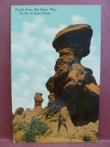 Old Postcard WY Red Buttes on Line of Union Pacific
