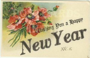 Vintage Postcard with a Happy New Year's Greeting with a beautiful hand written