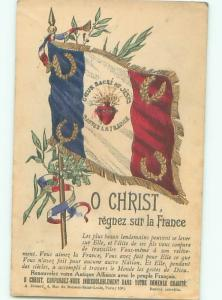 foreign 1912 Patriotic Postcard O CHRIST - LARGE FLAG OF FRANCE AC2800