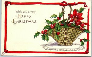 1910s HAPPY CHRISTMAS Postcard Basket / Holly & Poinsettia Flowers STECHER 415D