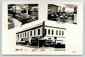 Boonville MO~Holt's Cafe~Inside Out~Lunch Counter~Signet Books Rack~1950s RPPC