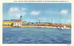 WRIGHTSVILLE, NC  North Carolina  OCEANIC HOTEL & Boats  c1940's Linen Postcard