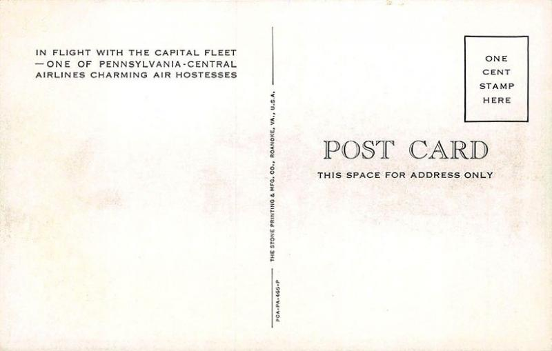Capital Fleet Pennsylvania-Central Airlines In Flight Attendant Postcard