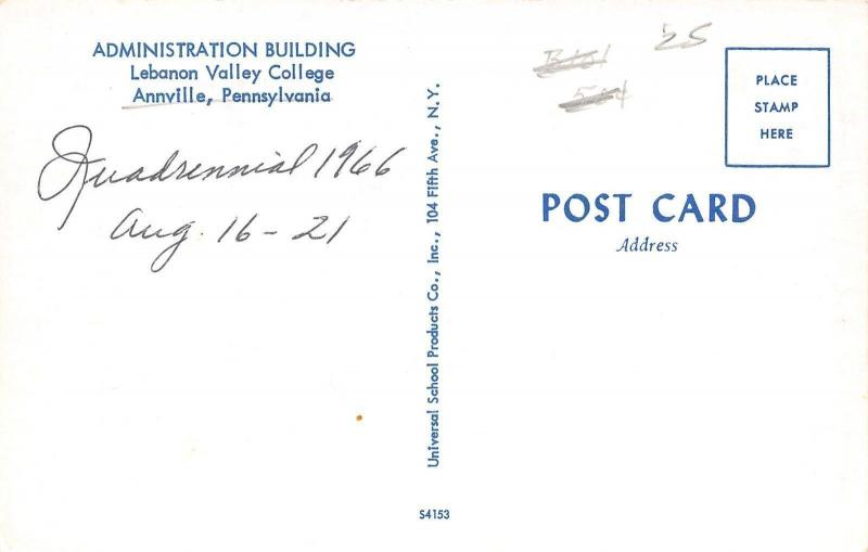 Annville PA Quadrennial~Lebanon Valley College~Gothic Revival Admin Bldg 1966