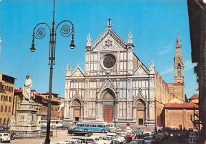 Italy Old Vintage Antique Post Card Square and Church of S Croce Firenze Unused