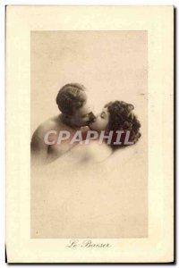 Postcard Old Woman Nude erotic kiss