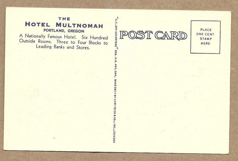 PORTLAND, Oregon, 1930-40s; Hotel Multnomah, Coffee Shop & Section of the Lobby