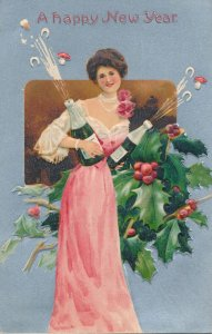 New Years Day Greetings Lady with Champaign - Holly and Mistletoe - pm 1910 - DB
