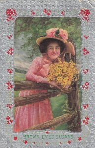 Brown Eyed Susans, Woman wearing hat holding bouquet of flowers, 1900-10s