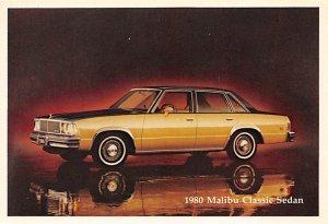 Auto After 1950 Post Card 1980 Malibu Classic Sedan Chevrolet Unused