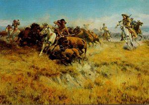 Running Buffalo By Charles Marion Russell